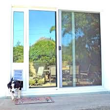 sliding glass door dog insert with built in doggy diy