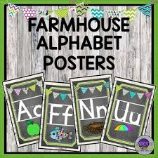Manuscript Letter Formation Chart Farmhouse Alphabet Posters With Pictures