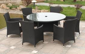 image of black wicker outdoor furniture dining table