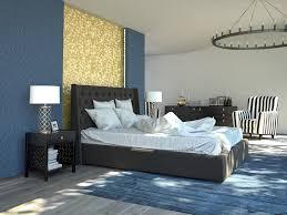 blue gold theme modern bedroom design