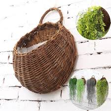 wicker wall basket hanging planters