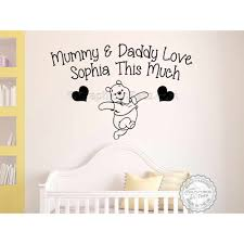 personalised nursery wall sticker winnie the pooh bedroom wall decor decal mummy daddy love e