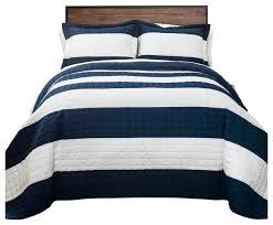 new berlin stripe quilt navy white 3pc