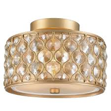 paris 3 light matte gold with clear and golden teak crystal flushmount
