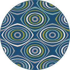8 round geometric navy blue indoor outdoor rug garden city rc willey furniture