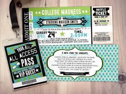 Concert Ticket Invitation Template College Reveal Party Concert Ticket Graduation Party Invitation 14