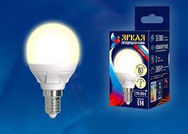 <b>Лампочка Uniel LED</b>-<b>G45</b> 7W/WW/E14/FR, Теплый свет 7 Вт ...