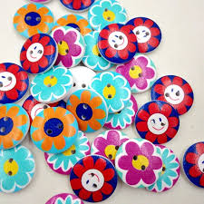 hot sofo 50 pcs round ons washable wooden sunflower pattern dia 2cm kid s shirt ons sewing supplies newchic