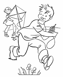Small Picture Spring Coloring Pages Kids Spring Flying a Kyte Coloring Page