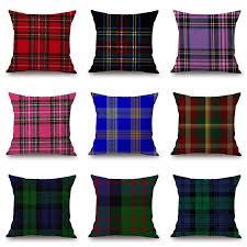 Hot Scotland PlaidGeometric Decorative Cushion Cover Throw ...