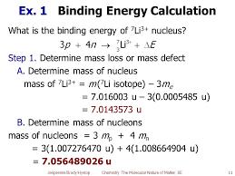 ex 1 binding energy calculation