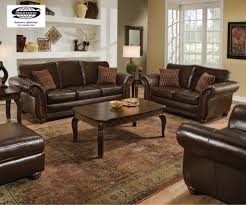 traditional leather living room furniture. Stunning Espresso Leather Living Room Furniture Set With Coffee Table And Traditional Rug Recessed Shelves R