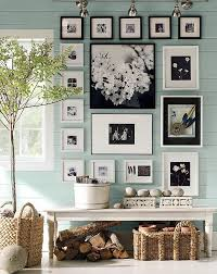 Pottery Barn | Blue Green Paint Color | Gallery Wall | Art Grouping |  Hanging Frames