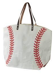 two s company women s baseball print jute and leather handle tote bag com