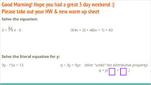 warm up solving equations review problems