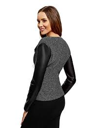 black 2912b oodji collection women s jersey jacket with faux leather sleeves