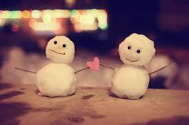 snow couple love