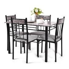 costway 5 piece faux marble dining set table and 4 chairs kitchen breakfast furniture today overstock 15869058