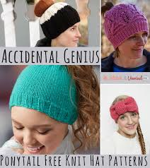 Ponytail Hat Knitting Pattern Mesmerizing Accidental Genius 48 Ponytail Free Knit Hat Patterns Stitch And