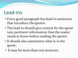 Lead Ins For Quotes Writing Using Leadins Quotes and LeadOuts in paragraphs and 3