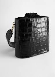 <b>Croc</b> Embossed Leather <b>Bucket Bag</b> - Black - Shoulderbags ...