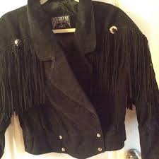 vtg outer bound hms black suede leather fringed motorcycle jacket womens m lined