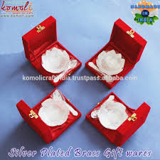 indian wedding return gift of lotus shape silver plated gifts from