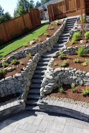 Steep Hill Garden Design Stone Block Steps For A Steep Location Sloped Garden