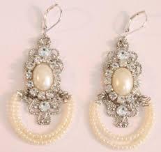 chandelier pearl earrings bridal victorian weddings rhinestone belle