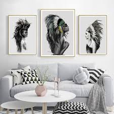 2019 native american indian figure decoration wall art canvas poster print painting decorative picture for living room home decor from aliceer