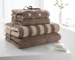 cotton hand towels for bathroom. 4 pieces towels set polka dot \u0026 stripe hand bath by(wot) (brown): amazon.co.uk: kitchen home cotton for bathroom