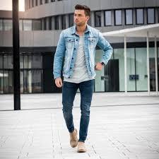 Light Gray Denim Jacket Blue Denim Jacket Light Gray Tee Blue Jeans Suede Boots