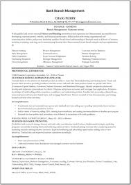 Bank Manager Resume Free Resume Templates Bank Branch Manager