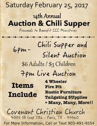 chili supper flyer chili cook off and silent auction at covenant christian church