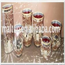 china glass mosaic vase glass mosaic candle holder glass hurricane in mirror and gold