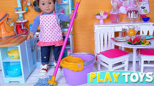 Baby Doll House Cleaning American Girl Doll Kitchen Toys Youtube