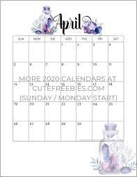 Free Printable April Calendar 2020 April 2020 Calendar Free Printable Crystals Cute Freebies
