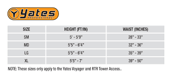 Voyager Harness Size Chart Yates 390 Rtr Tower Access Harness S