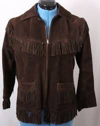 details about western fringe boho hippie zip up brown leather jacket coat women s medium
