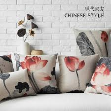 45cm chinese style ink painting lotus cotton linen fabric waist pillow 18inch hot new home decorative sofa car back cushion replacement furniture