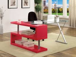 glass top office desk. Furniture Of America Lilliana Red S-Shaped Glass-Top Office Desk Glass Top R