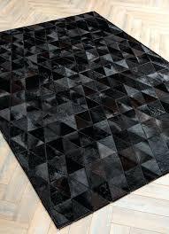 black cowhide rug by mosaic rugs luxury handcrafted black patchwork cowhide rug modern geometric pattern design black cowhide rug