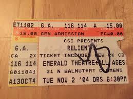 Old Ticket Stub Relientk