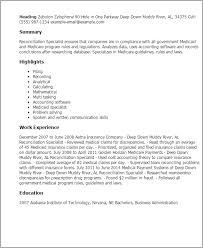 1 Reconciliation Specialist Resume Templates Try Them Now