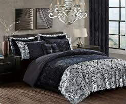 black crushed velvet soyo duvet cover set