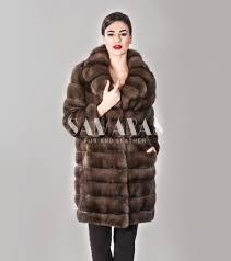 barguzinsky russian sable fur coat with english collar and 7 8 sleeve