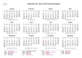 Printable Calendar 2018 For United States Pdf