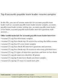 accounts payable resume objective examples top 8 team leader samples 1 in . accounts  payable resume ...