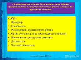 Презентация на тему Филиал НОУ ВПО Санкт Петербургский институт  3 Государственные органы и должностные лица ведущие судопроизводство и осуществляющие надзорные и контрольные