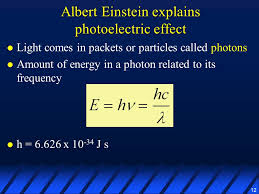 12 12 albert einstein explains photoelectric effect light comes in packets or particles called photons amount of energy in a photon to its frequency